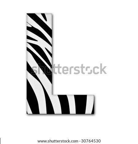 Letter L from the alphabet. Made of animal print. It has a clipping path. - stock photo