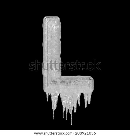 Letter L. Ice font isolated on black background. Alphabet. - stock photo