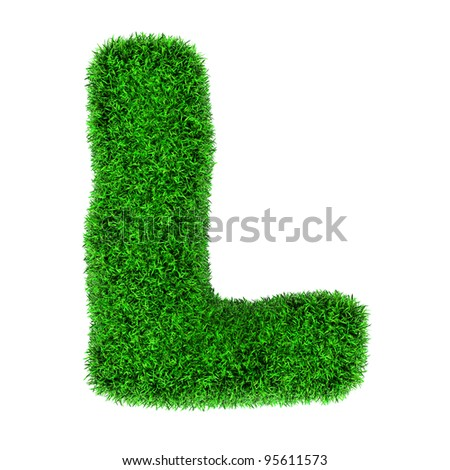 Letter L, made of grass isolated on white background. - stock photo