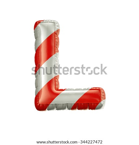 Letter L. Red and white Balloon font isolated on White Background.Birthday alphabet. - stock photo
