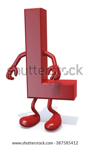 letter L with arms and legs posing, isolated on white 3d illustration - stock photo