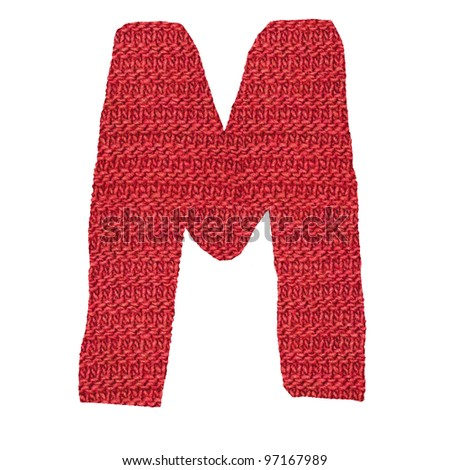 letter M alphabet, knitted spokes structure - stock photo
