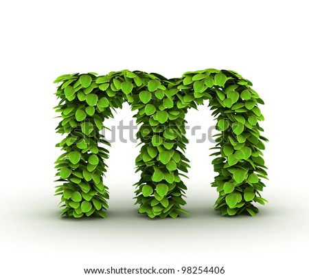 Letter  m, alphabet of green leaves, small caps - stock photo