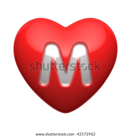 Letter M From Alphabet Of Hearts There Is A Clipping Path