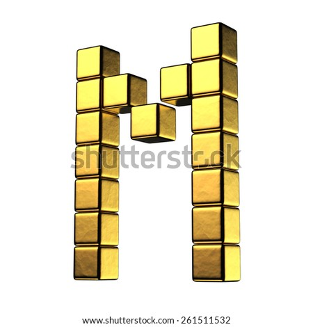 Letter M from big cube gold perspective alphabet. There is a clipping path - stock photo