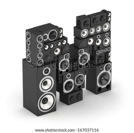 Letter M from black hi-fi speakers sound systems  in isometry - stock photo