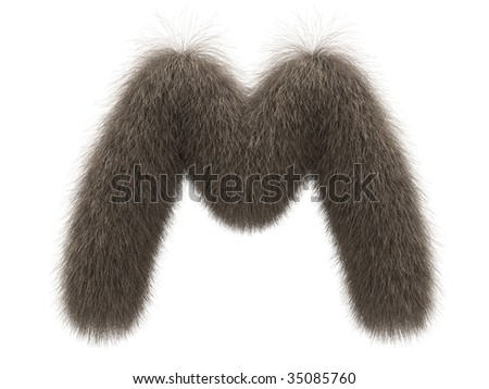 Letter M from fur alphabet - stock photo