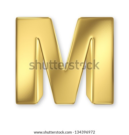 Letter M from gold solid alphabet - stock photo
