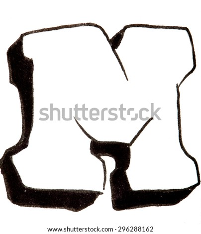 Letter M, hand drawn alphabet in graffiti style with a black fiber tip pen - stock photo