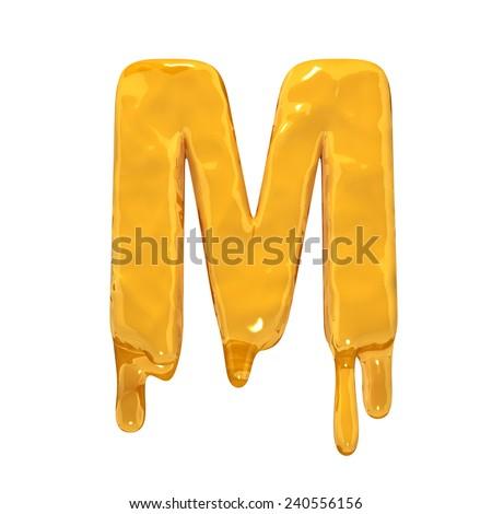 Letter M. Honey alphabet isolated over white. Orange liquid splash alphabet. - stock photo