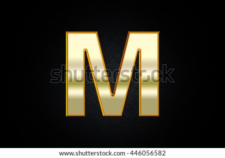Letter M in 3D Metal Style Text - stock photo