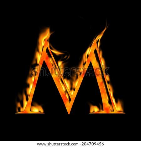 Letter M Blue Fire