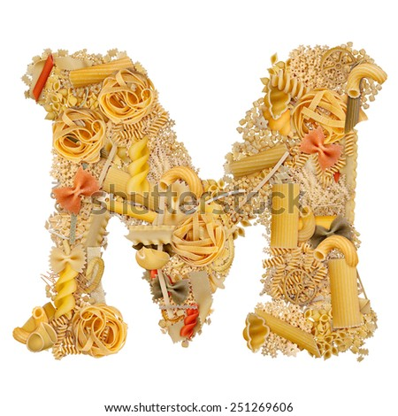 Letter M made from pasta isolated on white - stock photo
