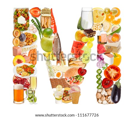 Letter M made of food isolated on white background - stock photo