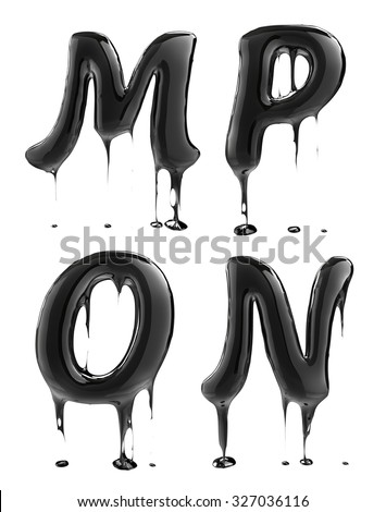 Letter M N O P. Oil alphabet isolated over white. Black liquid splash alphabet. - stock photo