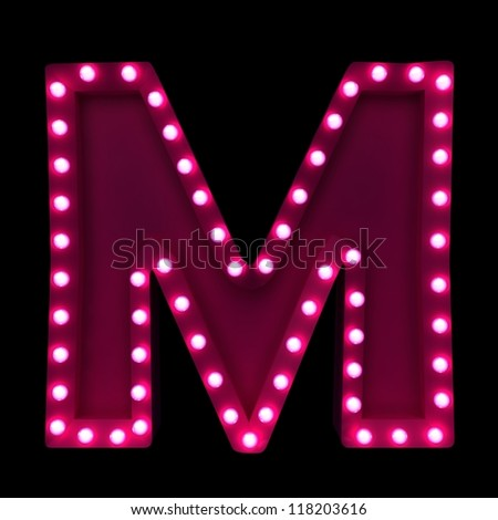 letter M with neon lights isolated on black background - stock photo