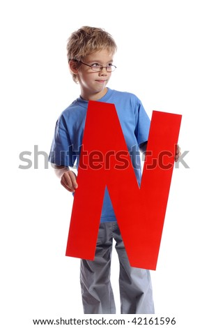 """Letter """"N"""" boy - See all letters in my Portfolio - stock photo"""