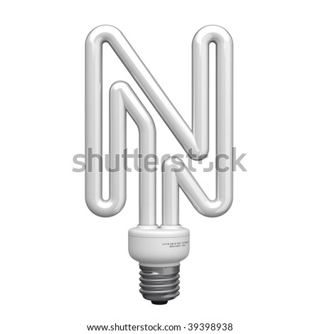 Letter N from lamp alphabet. There is a clipping path