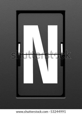 Letter N from mechanical scoreboard alphabet - stock photo