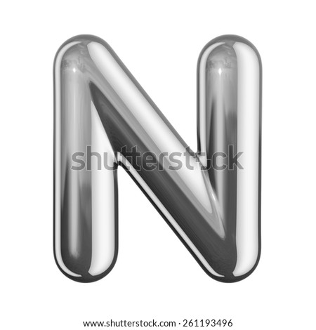 Letter N from round reflection chrome alphabet. There is a clipping path - stock photo