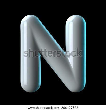 Letter N from round white blue light alphabet. There is a clipping path