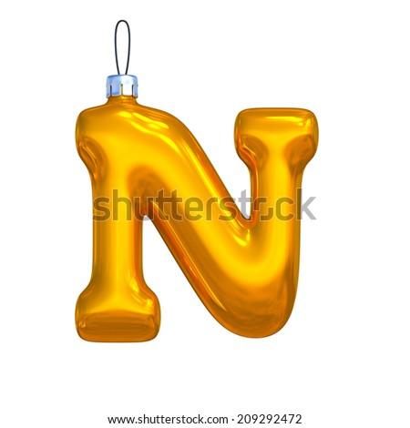 Letter N. Golden shining christmas ball. Alphabet isolated on white background. - stock photo