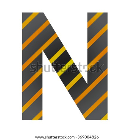 Letter N in industrial style on a white background