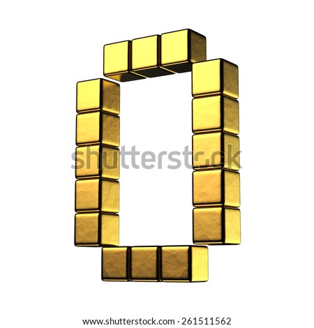 Letter O from big cube gold perspective alphabet. There is a clipping path - stock photo