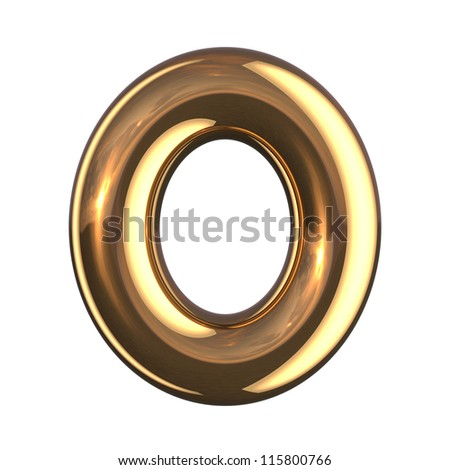 Letter O from gold round alphabet. There is a clipping path - stock photo