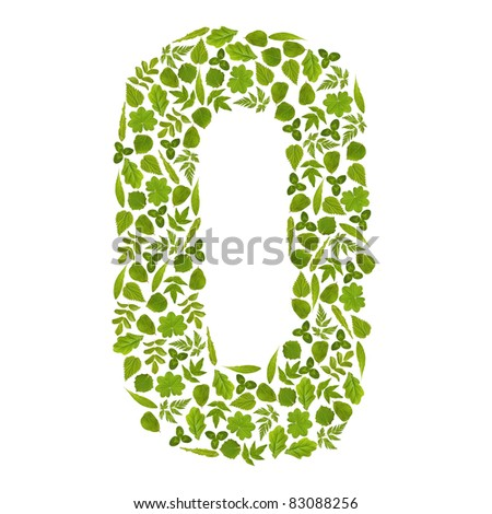 Letter O from green leafs - stock photo