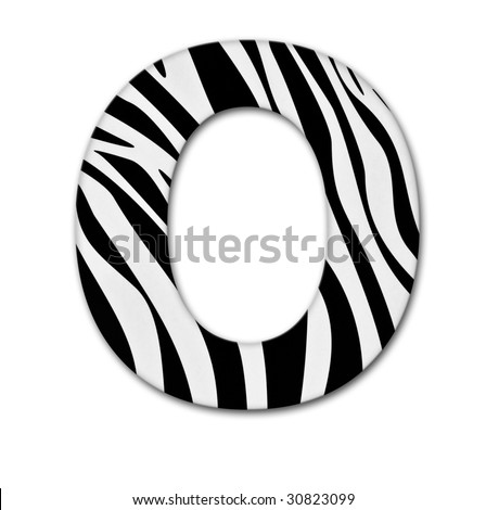 Letter O from the alphabet. Made of animal print. It has a clipping path. - stock photo