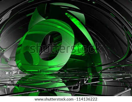 letter o in abstract futuristic space - 3d illustration