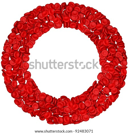 Letter - O made from red blood cells. Isolated on a white. - stock photo