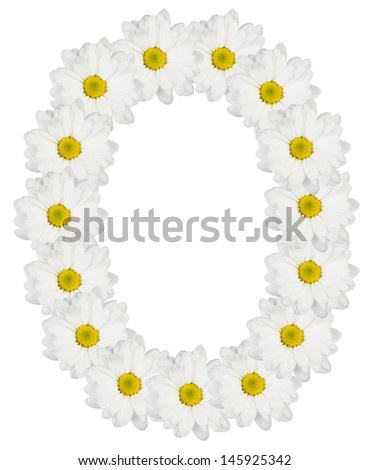 Letter O made from white flowers - stock photo