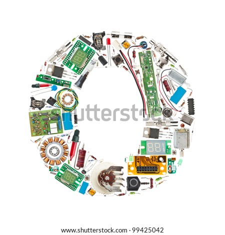 Letter 'O' made of electronic components isolated in white background - stock photo