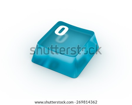 Letter O on transparent keyboard button - stock photo
