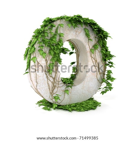 Letter O threads covered with ivy isolated on white background. - stock photo