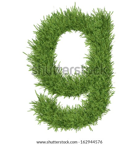 Letter of the alphabet made from grass. Isolated render on a white background
