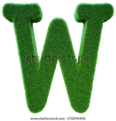 Letter of W from a green grass. Alphabet from a grass. Isolated on a white background in 3d