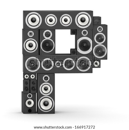 Letter P from black hi-fi speakers sound systems - stock photo