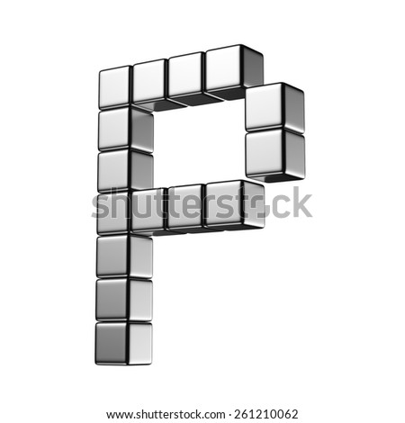 Letter P from digital cube middle perspective alphabet. There is a clipping path - stock photo