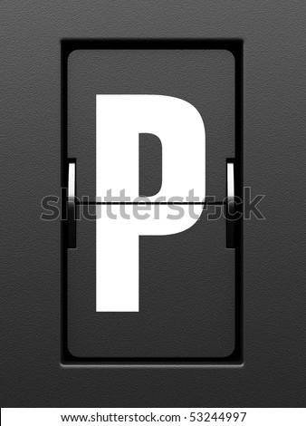 Letter P from mechanical scoreboard alphabet - stock photo