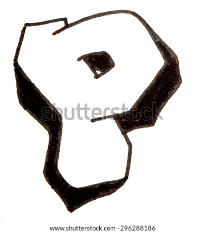 Letter P, hand drawn alphabet in graffiti style with a black fiber tip pen - stock photo