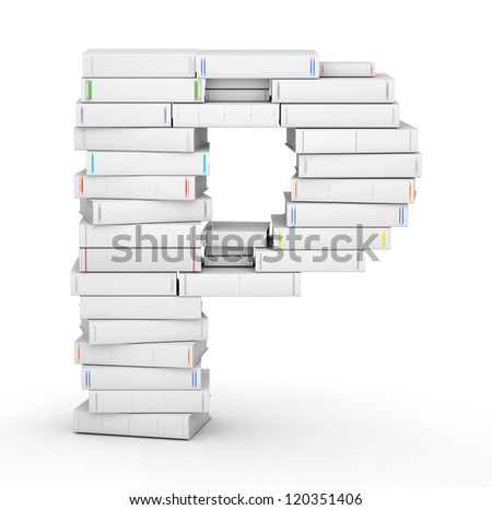 Letter P, stacked from many blank title books in column - stock photo