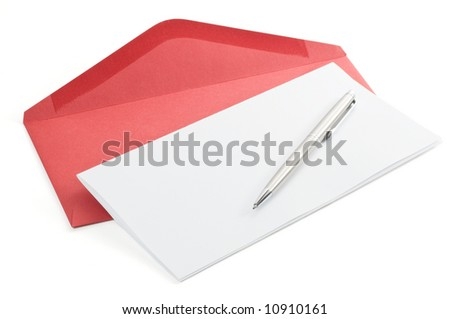 Letter paper and red envelope isolated on a white