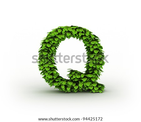 Letter Q , alphabet of green leaves isolated on white background
