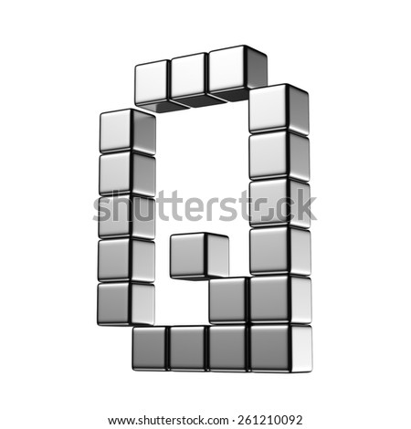 Letter Q from digital cube middle perspective alphabet. There is a clipping path - stock photo