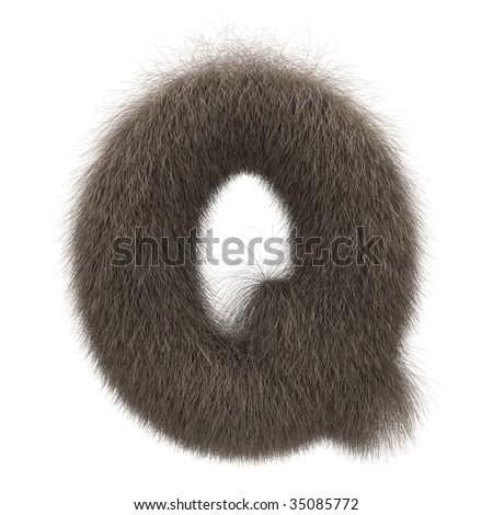 Letter Q from fur alphabet - stock photo