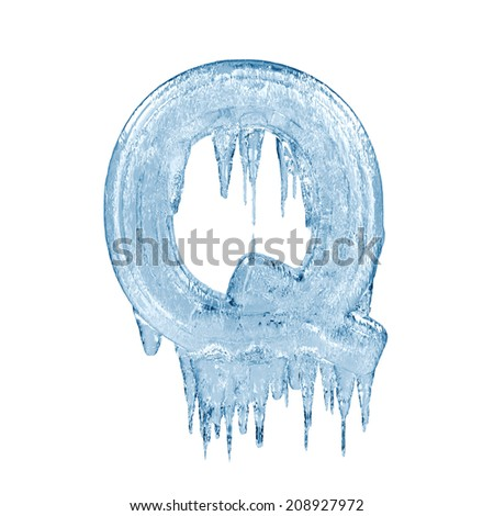 Letter Q. Ice font isolated on white background. Alphabet. - stock photo
