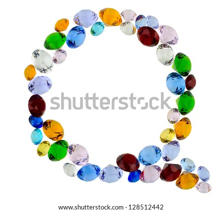 Letter Q made of different colorful gems